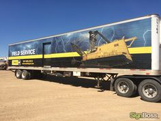 Check out the before and after of an old 53′ semi trailer Sign Boss wrapped for Wyoming Machinery!   #TrailerWraps