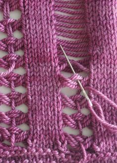 "Great technique! thread through intentionally dropped stitches for interesting design [   "" thread through intentionally dropped stitches for interesting design - like the weaving technique - Brook"