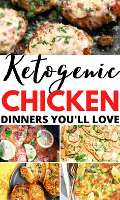 Easy low carb chicken dinners and quick keto chicken recipe ideas to try TONIGHT. If you're sick of having the same boring dinners day-after-day try these new and exciting ketogenic dinner recipes such as keto slow cooker chicken breast with garlic and lemon and creamy keto chicken thighs. Low Carb Chicken Thigh Recipe, Crockpot Chicken Thighs, Chicken Fajita Recipe, Chicken Cauliflower Casserole, Baked Pesto Chicken, Keto Chicken, Keto Crockpot Recipes, Healthy Chicken Recipes, Chicken Breast Recipes Dinners