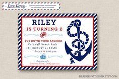 Nautical Birthday Invitation - PRINTABLE INVITATION - Anchor Invitation - Pool Party - Beach - Red White Blue Invite on Etsy, $12.00