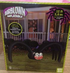 12' Gemmy Halloween Big Mouth Black Spider Lighted Airblown Inflatable Yard Prop