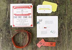 Tickets sind natürlich eine süße Idee. Backyard Circus Wedding: Heather + Mike