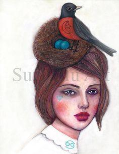 Suzi Blu Giclee Print of Sun Sign Cancer Zodiac Girl by SuziBlu