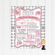 16x20 Modern Elephant Girly 1st Birthday Baby by BTheHostess