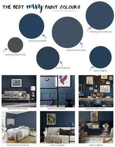 The best NAVY paint colours Dulux Paint Colours For Bedroom, Dulux Paint Colours Blue, Playroom Paint Colors, Bedroom Wall Colors, Paint Colors For Living Room, Paint Colors For Home, House Colors, Navy Blue Bedrooms, Navy Living Rooms