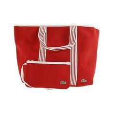 34b754780640 Lacoste Red Canvas Handbag Beach Tote Bag RETRO VINTAGE BAGS Adidas
