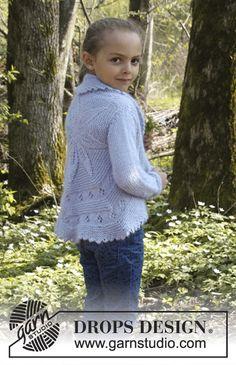 """Alvina / DROPS Children 27-12 - Lehtikuvioinen DROPS pyöröjakku """"BabyAlpaca Silk""""- ja """"Kid-Silk"""" -langoista. Koot 3 - 12 v."""