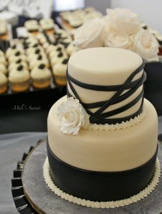pearls and roses dessert table in cream, black and gold by Mili's Sweets