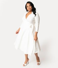 9fb7ff1e6a5b Plus Size 1950s Style White Stretch Sleeved Anna Wrap Dress