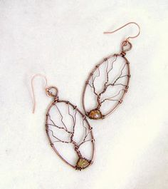Oval Copper Tree of Life Earrings with Topaz | JewelryLessons.com