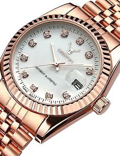 Žene Luxury Watches Ručni satovi s mehanizmom za navijanje Diamond Watch Japanski Kvarc Nehrđajući čelik Srebro / Rose Gold 30 m Vodootpornost Kalendar Kronograf Analog dame Okrugla Elegantno - Gold Watch, Rolex Watches, Jewels, Accessories, Gemstones, Jewerly, Jewlery, Gems, Fine Jewelry