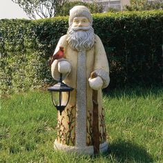 "Woodland Christmas Santa with Cardinal.  This nature inspired Santa can add warmth to your garden during the Christmas season.    Dimensions 10""L x 13""W x 30""H  Weight 12 lbs  Material Resin  Solar Powered Lantern  Indoor or Outdoor use   Shipping weight: 20 lbs  $99.00  http://www.christmasnightinc.com/c263/30-Santa-with-Cardinal-p1328.html#"