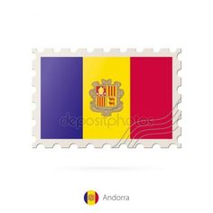 Postage stamp with the image of Andorra flag. Gráficos Vectoriales