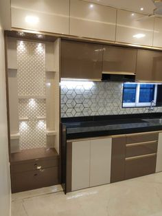 Kitchen storage with pooja space by vr interior designerss asian plywood Kitchen Cupboard Designs, Kitchen Room Design, Home Room Design, Modern Kitchen Design, Interior Design Kitchen, Kitchen Storage, Kitchen Units, Room Partition Designs, Living Room Partition Design