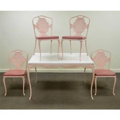 Vtg Victorian Hollywood Regency Pink Cast Aluminum Patio Dining Table Chairs | eBay