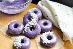 Ube Donuts with Coconut Glaze — The Sweet & Sour Baker Ube Donut Recipe, Ube Dessert Recipe, Filipino Desserts, Dessert Recipes, Filipino Food, Ube Recipes, Donut Recipes, Baking Recipes, Desert Recipes