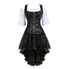 Steampunk Rock, Steampunk Corset Dress, Moda Steampunk, Corset Outfit, Leather Corset, Steampunk Clothing, Victorian Steampunk, Pirate Corset, Pirate Dress