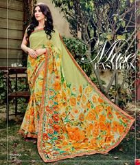 Pastel Green Color Georgette Kitty Party Sarees : Leena Collection  YF-42431