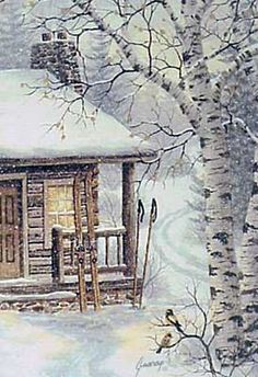 A larger photo of the print, Winter Retreat, from an original watercolor by Kathy Glasnap of Door County