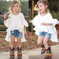 Julia Top Boho High Low festival hippie child fashion white ruffle hi low dress girls cowgirl country wedding kids