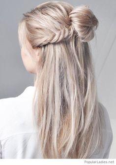 Braid and bun on blonde hair