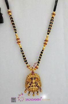 Antique Temple Necklace Designs, Black Beaded Temple Necklace Designs, Black Bead Necklace with Lakshmi Pendant.