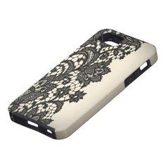 Vintage black Lace beige Paris fashion iPhone5case iPhone 5 Cover