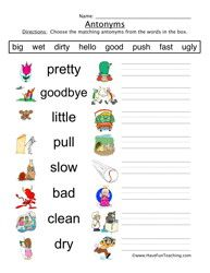 math worksheet : antonyms worksheet write the anytonym of the underlined word in  : Synonyms For Kindergarten Worksheets