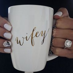 Love our Wifey apparel? Then you need our Wifey Mug to complete your collection. Sip your favorite tea, coffee or even hot coco with our gold printed Wifey mug. Perfect as a gift too!
