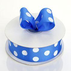1 inch x 25 yards Royal Blue with White Polka Dot Grosgrain Ribbon Organza Ribbon, Fabric Ribbon, Grosgrain Ribbon, Royal Blue Wedding Decorations, Wholesale Ribbon, Pew Bows, Backdrops For Parties, Baby Wearing, Notebooks