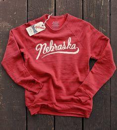 Little Mountain Print Shoppe - Nebraska Script Sweater – Made in Omaha Build A Wardrobe, Fleece Sweater, Sweater Making, Sweater Design, Red Sweaters, Vintage Tees, Crew Neck Sweatshirt, Vintage Outfits, Script