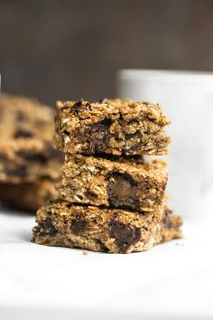 These Nut-free Granola Bars are vegan, gluten-free, and oil-free! These are loaded with delicious spices, chewy and soft and crispy edges. They are healthy and allergy-friendly for kids as well and require just 8 ingredients! Vegan Granola Bars, Chocolate Chip Granola Bars, Gluten Free Granola, Nut Free Granola Bar Recipe, Vegan Bar, Vegan Snacks, Vegan Desserts, Vegan Recipes, Bar Recipes