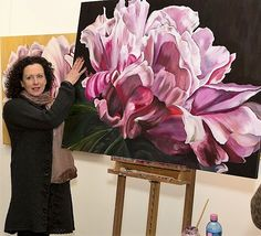 Jacqueline Coates took her passion for painting huge, luscious flowers into an amazing business and lifestyle - inspirational! Peony Painting, Spring Painting, Painting & Drawing, Peony Flower Photos, Flower Art, Flowers, Art Tutorials, Painting Inspiration, Creative Art