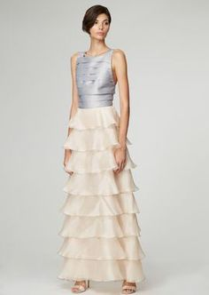 68b02c8723a0 Dress with pleated bodice and flounces skirt in organza