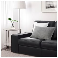 KIVIK Sectional, corner - Grann with chaise, Bomstad Grann/Bomstad black - IKEA Chaise Relax, Chaise Ikea, Ikea Kivik, Chaise Haute Bar, Ikea Bank, Rustic Couch, Faux Leather Sofa, Black Leather, Loveseats
