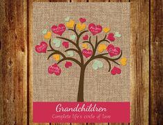 Grandmother's Tree - Grandchildren Tree - Family Tree -Grandmother's Gift - Grandparent's Gift - Burlap and Pink - Heart Tree Grandmother Gifts, Grandma And Grandpa, Honey Bee Photos, Jute, Heart Tree, 70th Birthday, Birthday Ideas, Bridal Shower Tea, Tree Crafts