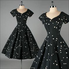 Vintage 1950s Dress. Love the organic size and unexpected organization of the polka dots.