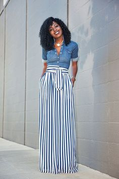 White Button Down Shirt   High Waist Maxi Skirt | High waist, Nice ...