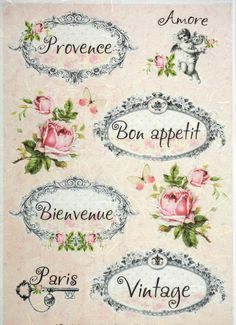 Rice Paper for Decoupage Decopatch Scrapbook Craft Sheet Vintage Labels & Roses