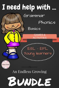 """This is an endless growing bundle specially designed for ESL students and young learners who want to revise by themselves.  In this bundle, you will find: - Grammar: BE - Grammar: HAVE - Basics: telling the time - Basics: when to use capital letters - Basics: colors (British English and American English available) - Phonics: the pronunciation of the letter A - Phonics: pronunciation of the digraph """"oo"""" - Phonics: Homophones - Phonics: pronunciation of -ed"""