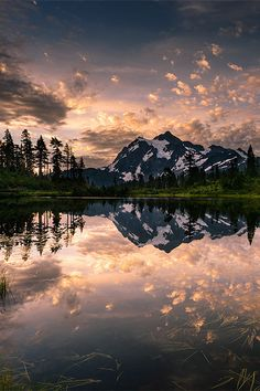 Picture Lake Awakening, Washington, by Dan Mihai. Clouds, colour, mountain, tree, water, reflections, beautiful, panorama, landscape, mirror, Mother Nature, breathtaking, photo.