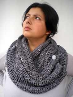 Grey Fashion Circle Scarf Crocheted pure Baby Merino  by NonnaLia, $69.00