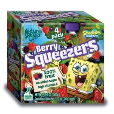 Natures Child Squeezers, SpongeBob Berry, 4-Count (Pack of 4)