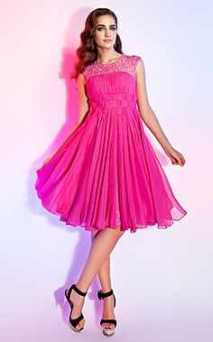 A-line Jewel Knee-length Chiffon Cocktail Dress  – USD $ 199.99