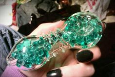 This pipe has gel beads on the inside. You keep it in the fridge, then when you smoke, they cool the smoke to make it smoother and easier to breathe. And, its cute as Fuck. So pleased with my purchase today. :)