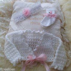 Crochet Baby Clothes Girls Bolero Cardigan, Lace Headband and Crochet Trim Socks