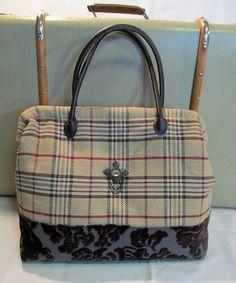 Antique Style Carpet Bag  Tan Plaid with Brown by RomanceandRuin