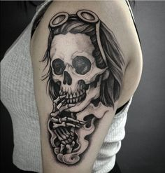 Grunge Nirvana tattoo - Kurt Cobain's skull smoking by Cvetelina Emilova, a versatile tattoo artist who specialises in animals, stylised portraits, and graphic japanese style tattoos working at Scratchline Tattoo 245 Kentish town road NW5 2JT email scratchlinetattoo@gmail.com or call 0207 018 1832 to book a consultation