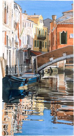 Watercolour Giclée print Venetian houses reflected in water, with bridge and boat #Venice #Italy