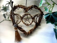 Pagan / Wiccan Moon Goddess Heart & Besom. Rustic Handmade Witch Kitchen Gift